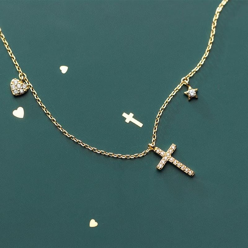 Fashion Europe Jewelry Heart 925 Sterling Silver Gold Cross Colgante Collar Lady Girls Delicate Jewellry Anti Allergy
