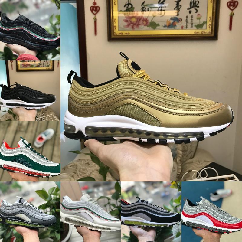 Satmak 2021 Üçlü Beyaz 97 OG X Erkek Açık Koşu Ayakkabıları Bred Unfftd Undedededed Siyah Şerit Bullet Metalik Altın Zeytin Kadın Spor Sneaker