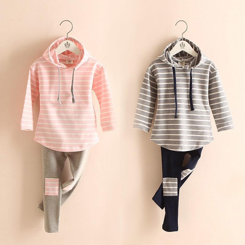 Outono primavera 2 3 4 6 7 8 anos listrado manga longa hoodies de algodão tops + leggings bebê crianças menina 2 pcs roupas roupas conjuntos 20116