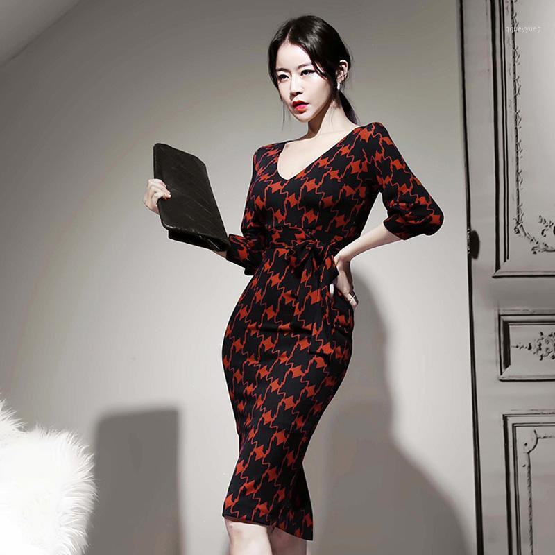 2020 Ladies V-neck Bodycon Wrap Dress Women Corset Casual Red Dress Spring Summer New Print Midi Plus Size Roupa Feminina1