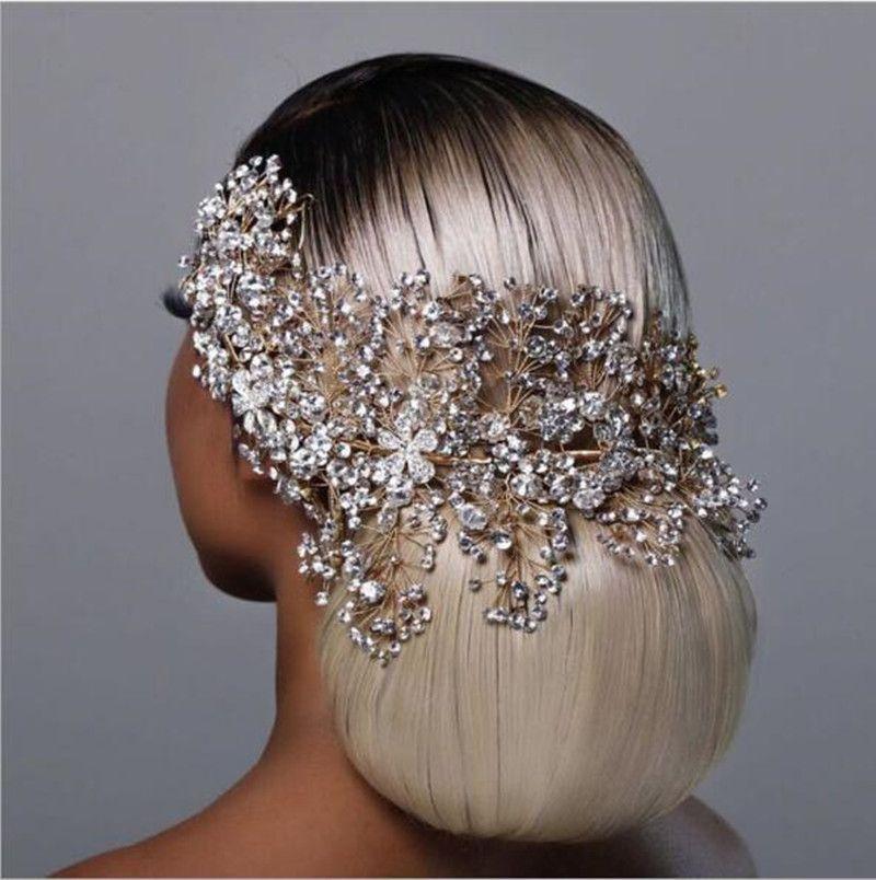 الفضة الذهب الماس الزفاف ولي اكسسوارات للشعر الزفاف تيجان الزفاف اكسسوارات للشعر للنساء خوذة