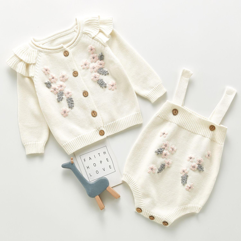 INS stereo Infant ragazze ricamato maglione abiti bambini doppio cardigan manica fly + romper 2pcs set neonato bambini vestiti del bambino A5122