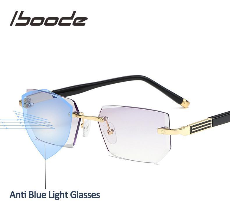 Iboode Classic Light Computer To Frame Vintage Men Presbyopia Women Reading Frameless Blue Eyeglasses +4.0 With 0 Anti Glasses Aicho