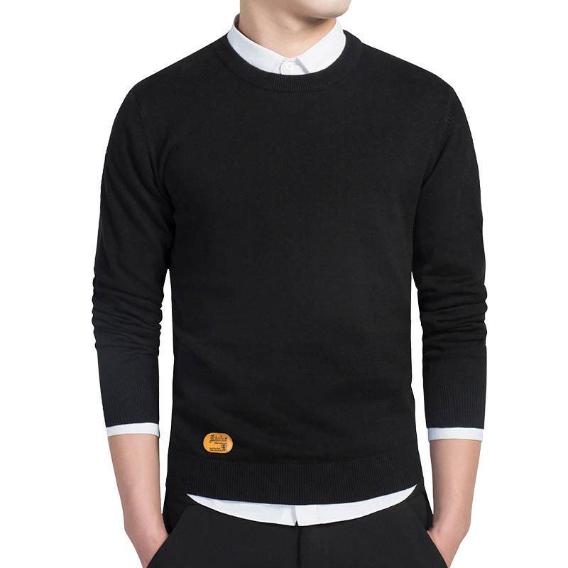 Мужской хлопковый свитер Pullovers Мужчины уплотнительные свитера Джим черный осень тонкий мужской сплошной вязание одежды серый черный M-3XL новый 201123