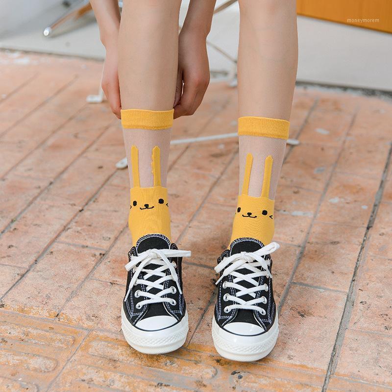 Cristal de cristal seda calcetines delgados calcetines color caramelo lindo seda transparente verano calcetín coreano moda mujer1