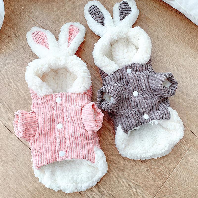 Conejo lindo Diseño Perro capucha del invierno de ropa para perros para mascotas en Perros capa de la chaqueta de algodón Perro Bulldog Francés Ropa