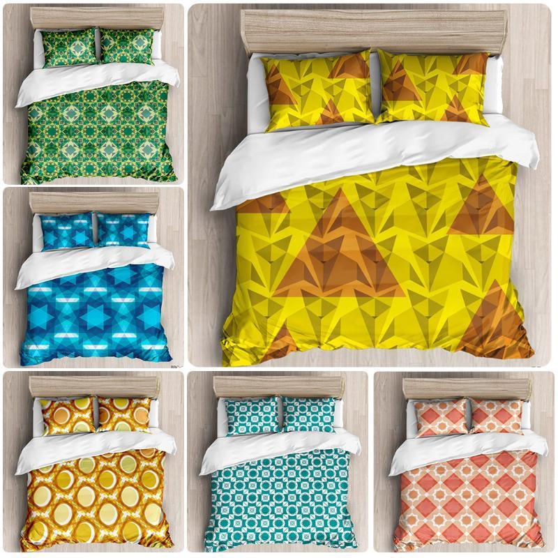 Tamaño del bloque del color del patrón de costura Molienda MAO del lecho de la funda de almohada cubierta del edredón Twin completa