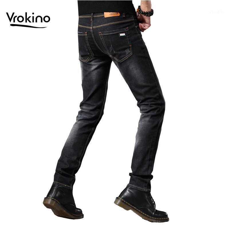 Vrokino marca 2019 outono e inverno novo estilo homens casuais slim jeans de alta qualidade homens moda skinny trecho de jeans1