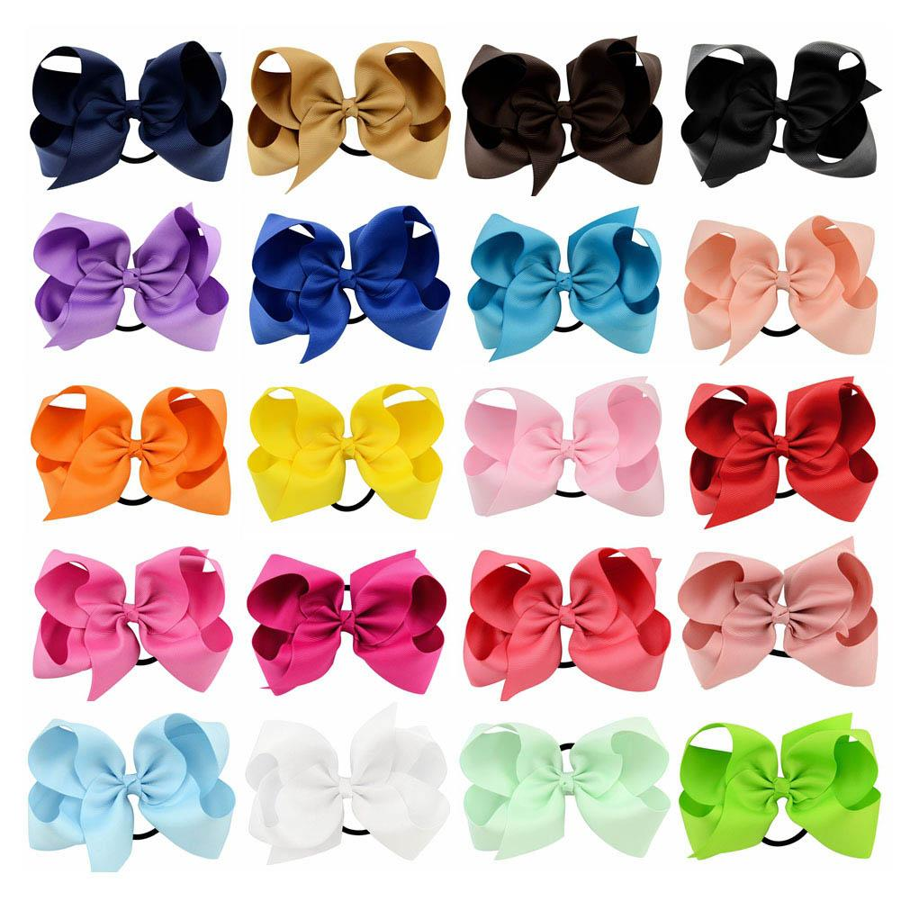 6 بوصة كبيرة الشعر القوس بوتيك الصلبة hairgrips hairbands الانحناء مع مرونة العصابات الشعر الحبال bowknot للبنات اكسسوارات KFR10