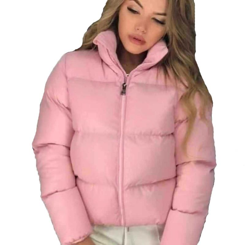 FORERUN 8 Colors Oversized Bubble Jacket Women Winter Puffer Coat Stand Collar Mint Green Thicken Parka Winterjas Dames 201124