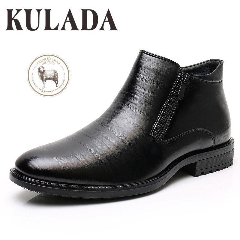 Kulada Doğal Yün Sıcak Iş Botları Erkek Kış Ayak Bileği Çizmeler Erkekler Deri Çift Zip Yan Örgün Çizmeler Erkekler Kışlık Elbise Ayakkabı 201215