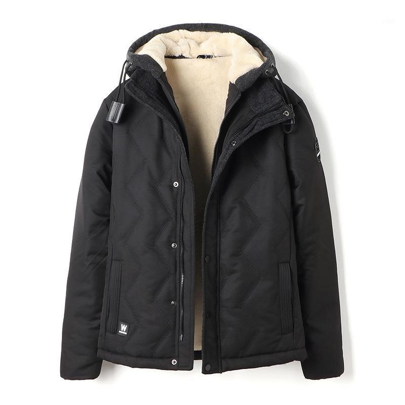 Мужские пуховые парки зимние мужские с капюшоном плюс бархатный хлопчатобумажная одежда свободная толстая вскользь теплый пиджак м1