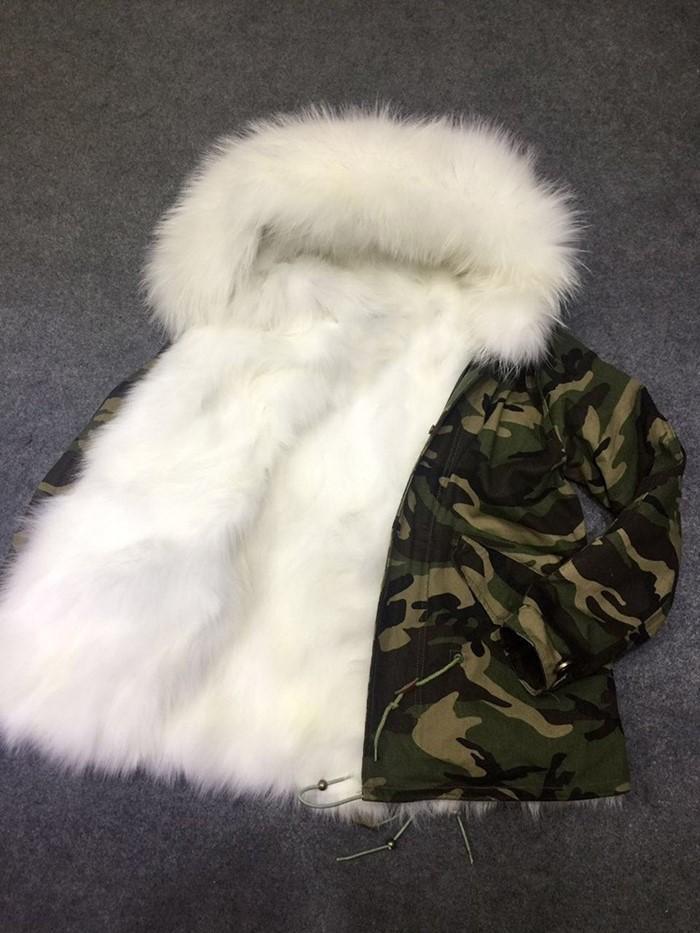 Venda quente mukla peles marca branca raposa de pele de pele camuflagem mini jaquetas com peles de guaxinim branco aparar moletom