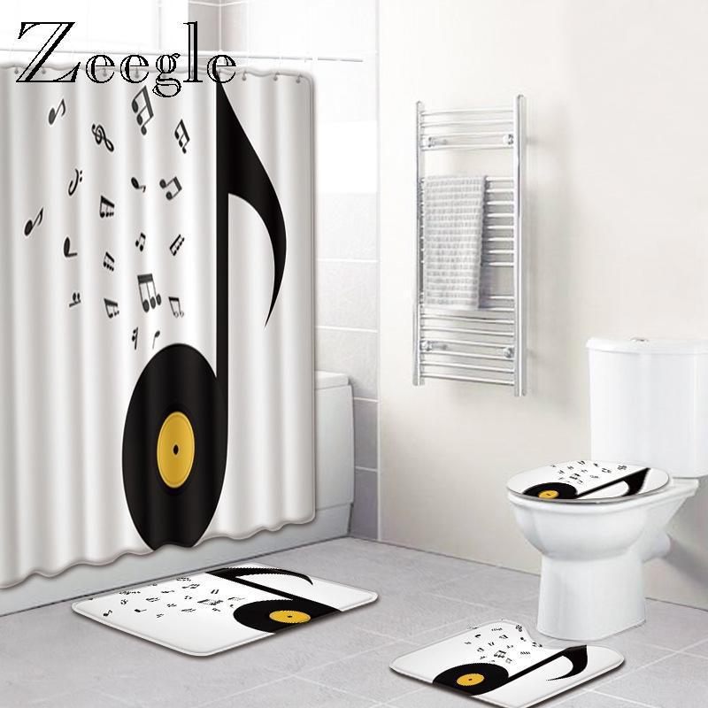 Musical Printed Bad Matte mit Duschvorhang Set Wohnkultur WC Teppich Badezimmer Matte Mikrofaser Badezimmer Fußbad Teppich