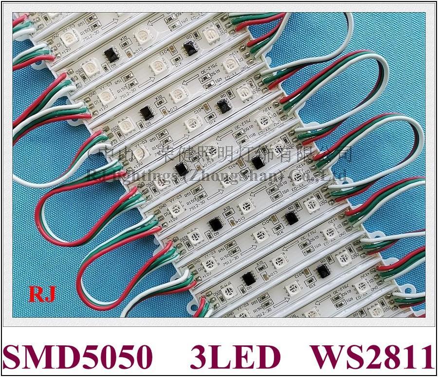 WS2811 RGB LED الوحدة SMD 5050 LED الإضاءة الخلفية الخلفية الضوء ل تسجيل الدخول SMD5050 DC12V 3 LED 0.72W WS 2811 IP66 ماء CE بنفايات