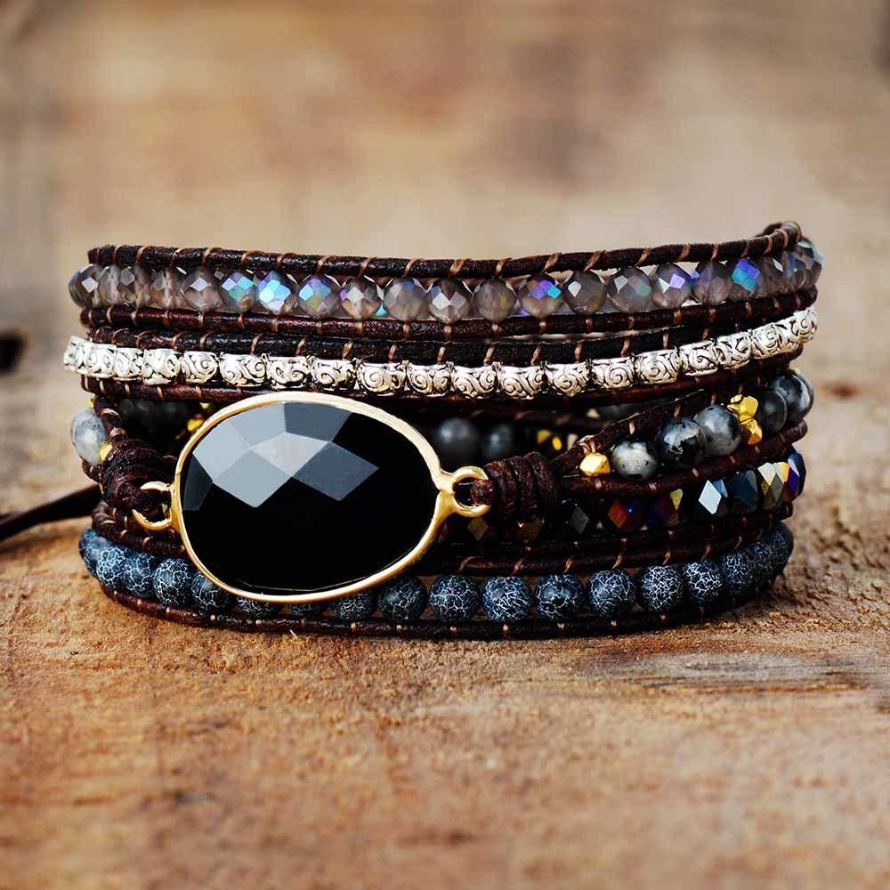 Native Inspired Designer Leder Armband Black Onyx Mix 5 Stränge gewebt Wickel Bangles Böhmische Schmuck Dropship F1201