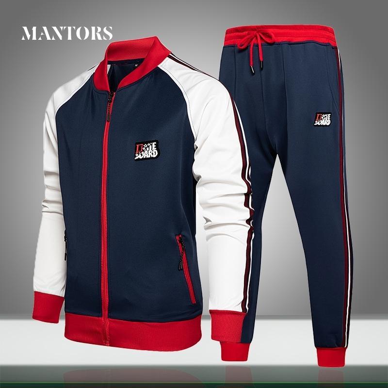 Erkek Eşofman Casual Setleri Katı Patchwork Sonbahar Yeni Jogger Sportsuit Erkekler Spor Fermuar Ceketler + Pantolon 2 Adet Set Gevşek 201109