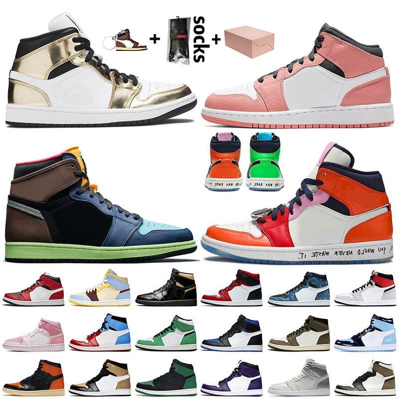 Nike Air Jordan 1 1s off white Jordan Retro 1 travis scott Jumpman zapatos de baloncesto de la manera con las mujeres para hombre cuarzo rosa de alta OG Bio Hack
