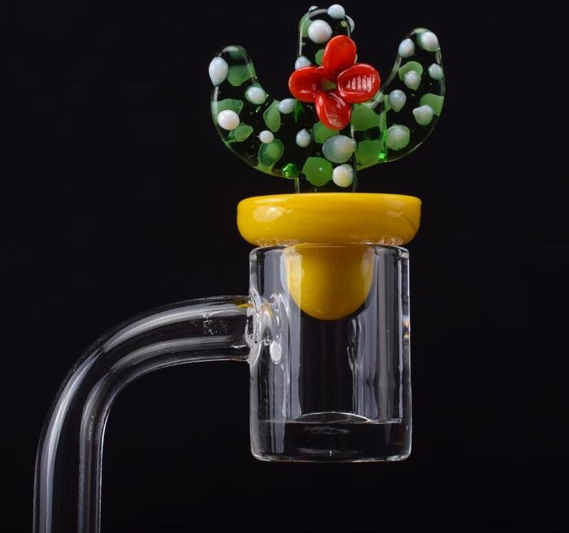 100% de quartz 4mm d'épaisseur de quartz BANGER Nail OD 20mm Domeless 90/45 degrés ongles à quartz avec Cactus Casquette de glucides pour bangs en verre