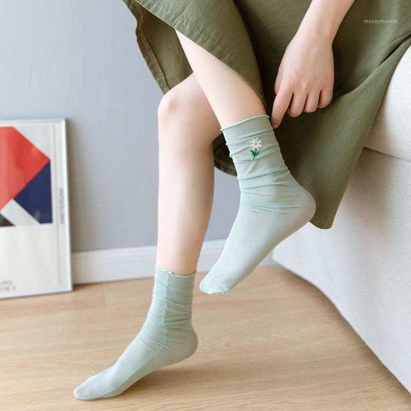 Socks & Hosiery Summer Sweet Girls Fashion Thin Embroidery Flower Mesh Pile Women Comfortable Breathable Japanese 2021 1