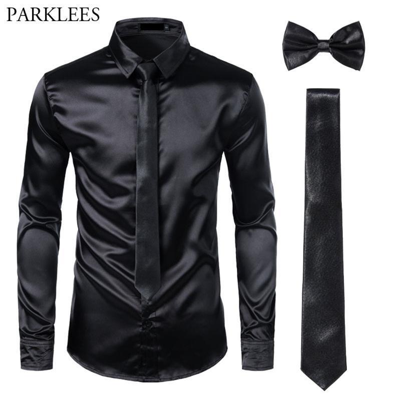 Black Herren Seidenkleid Hemden 3 STÜCKE (Hemd + Krawatte + Bowtie) Smooth Satin Shirt Männer Slim Fit Party Prom Casual Hemden Männer Social Camisa LJ200925