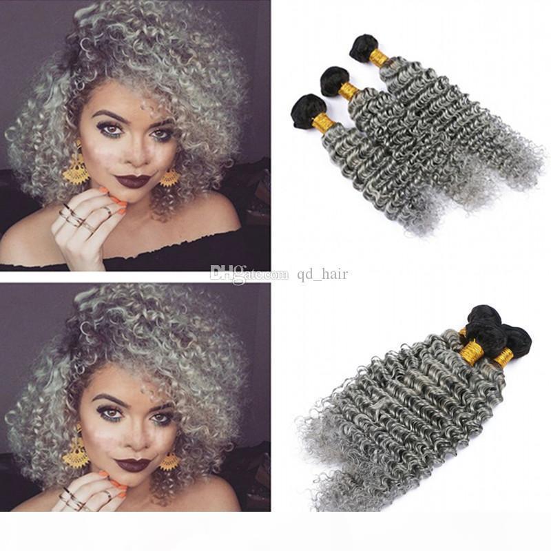 Zwei Tonfarbe Silbergraue tiefe Wellenhaar webt 3 stücke Unverarbeitete menschliche Haare Schuss tief lockig 1b graue Haar 3bundles-Erweiterung