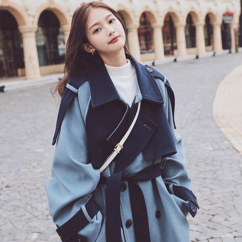 Casaco épais Patchwork 2020 Femmes Nouveau manteau bleu chaud Double chaud pour hiver boutonnier en laine coréenne veste de laine de laine feminino uvxlv