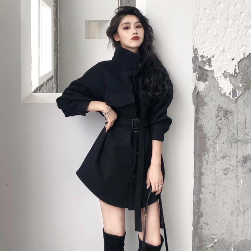 Cabo Otoño / Invierno 2020 Nueva versión coreana con encaje de cintura con encaje que muestra un abrigo de lana pesado de color claro, mediano y largo