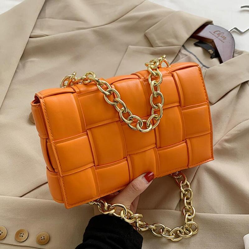 Bolso de pellejo tejido Crossbody 2020 Fashion New High Quality PU Cuero de la PU Diseñador de mujer Cadena de mano Bolsa de mensajero Hombro