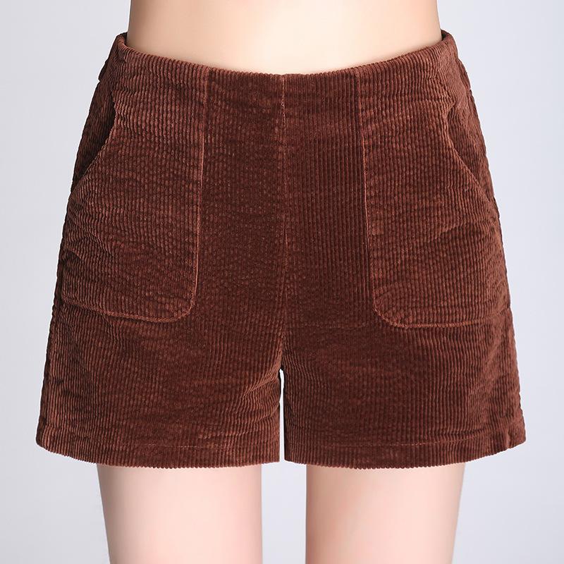 Shuchan Corduroy Autumn Winter Shorts Women New Casual Loose Elastic High Waist Female Shorts Thick Solid Short Women Warm Q0131