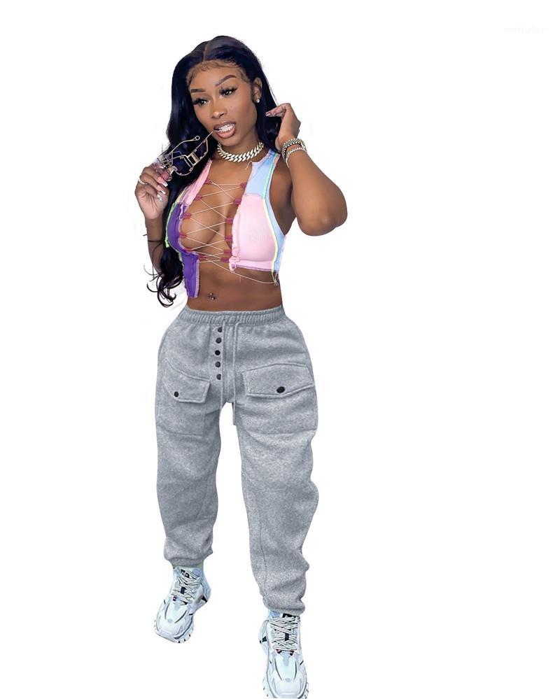 Womens Capris Fashion Elastic Cintura con botón de mujer Ropa para mujer Diseñador suelto Pantalones para mujer Casual Soild Color Sports