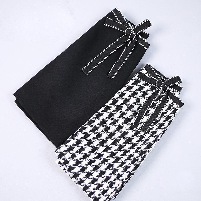 Taille de laine pour femme Modèle de grille de grille haute taille haute vérification à carreaux A-ligne Tweed mini jupe expédition