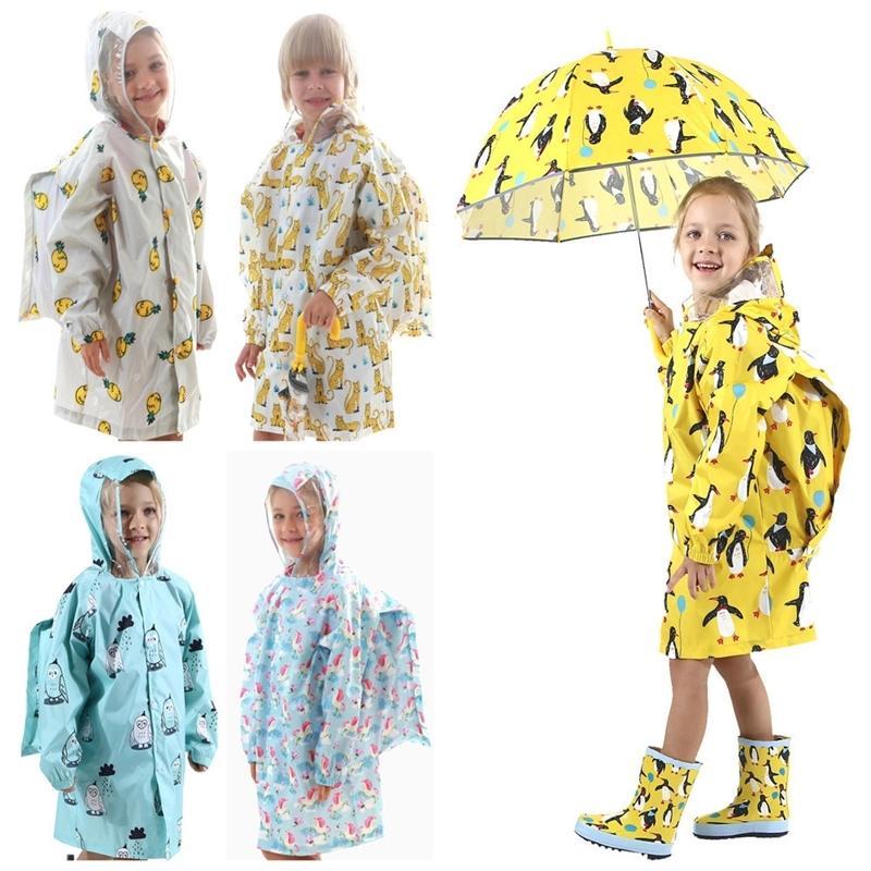 85-145 cm Su Geçirmez Yağmurluk Çocuk Çocuklar Için Bebek Yağmurluk Panço Erkek Kız İlkokul Öğrencileri Yağmur Panço Ceket 201015