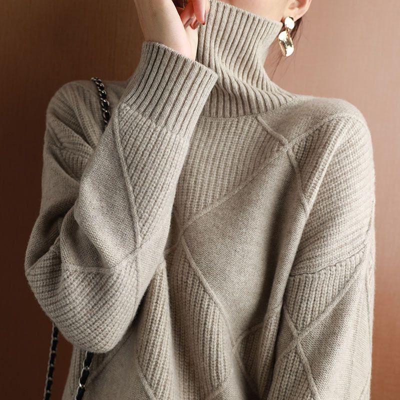 2020 осенью и зима новая женская пуловер утолщенного тепла мода большой размер вязаный шерстяной свитер с высоким воротником