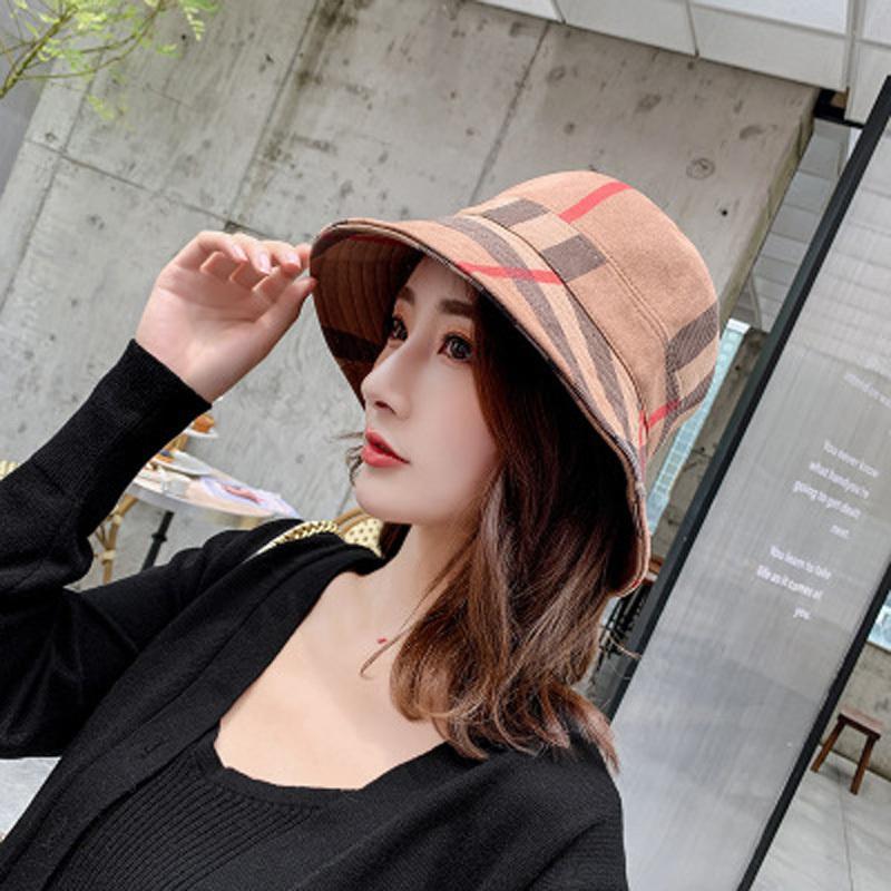 Yoyocorn outono e inverno xadrez pescador chapéu moda senhoras casual doce sunscreen sunshade outdoor tampa dobrável lj201105