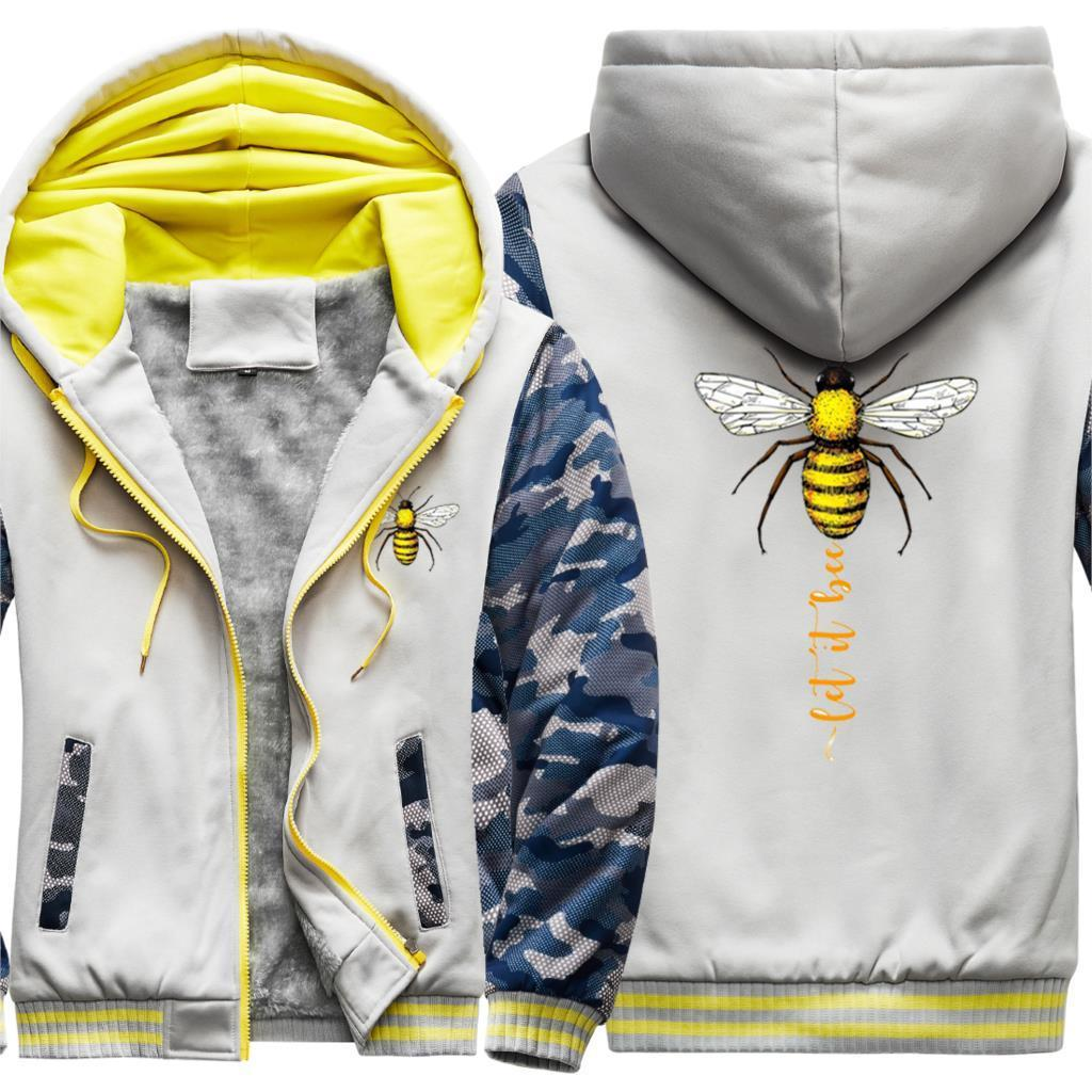 Deixe-o Abelha Imprimir Jaquetas de Jaquetas dos Homens Loose 2020 Tracksuits Oversize Macho Inverno Hooded Outdoor Quente Supoleron Hombre