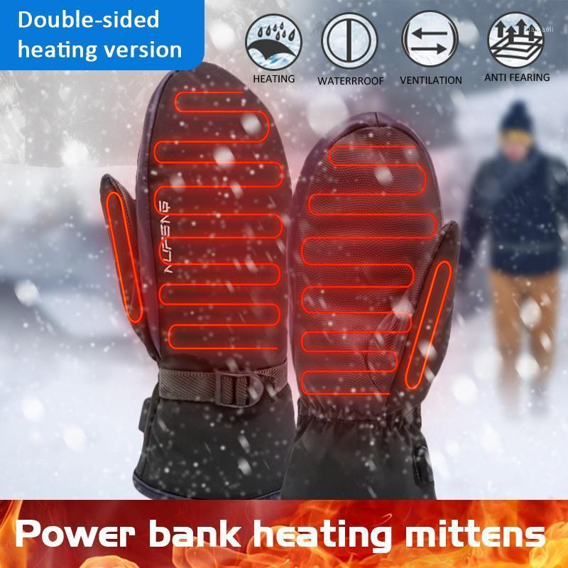 Power Bank Нагревательные перчатки Двухстороннее отопление USB Электрические варежки для утечки теплого в зимней регулируемой температуре1