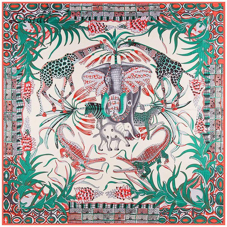 Joker Women Square Twill Silk Scarf Elephant Scarf Shawls Bandanas Big Size Animal Print Wholesale 130*130CM