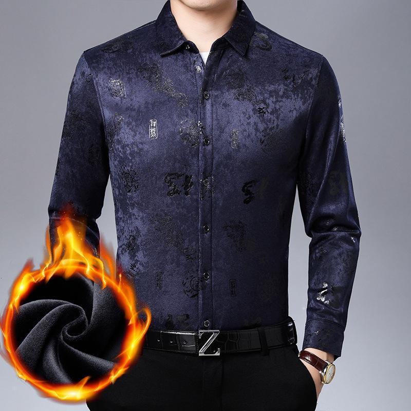 2020 зимняя мужская рубашка теплые рубашки мужчины толстые повседневные печатные рубашки деловые рубашки свободно без железной железной рубашки C1212