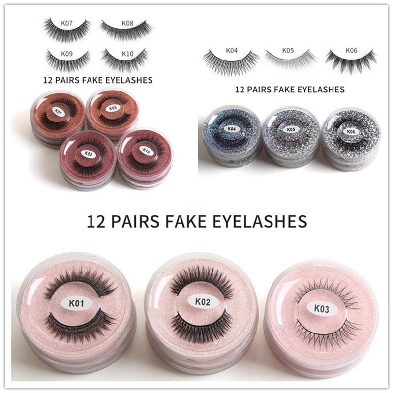 New 12pcs/set false eyelashes round shape box mixed 3D imitation mink hair natural thick false eyelashes DHL free shipping