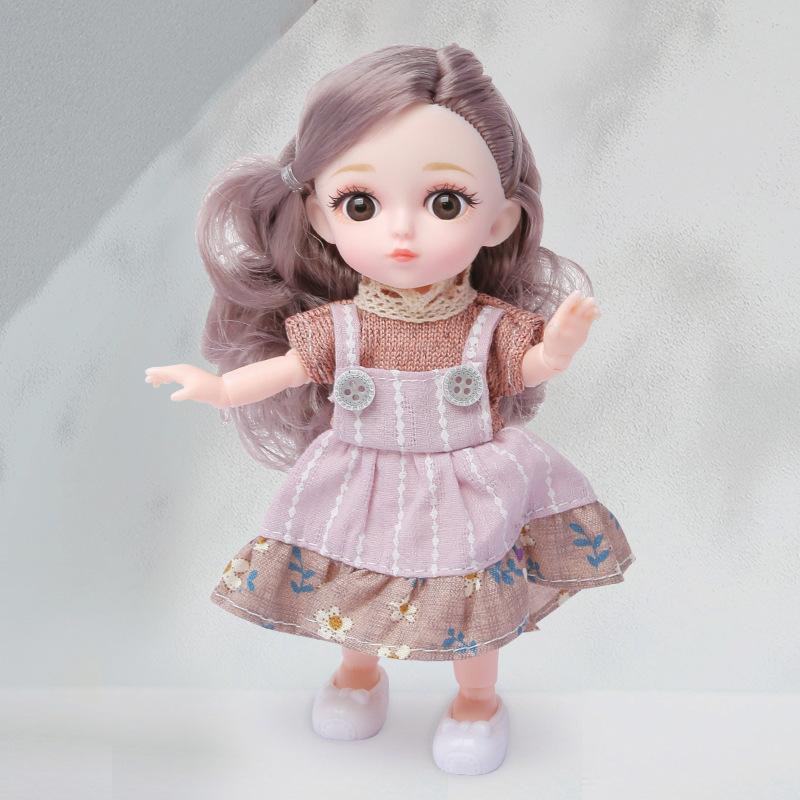 NUEVA 16cm BJD MUÑECO 12 JUNTAS MOVEABLE 1/12 DIY Girls Dress Up Ojos 3D Mini Doll Juguete con zapatos de ropa Niños Fashion Cumpleaños Regalo 201203