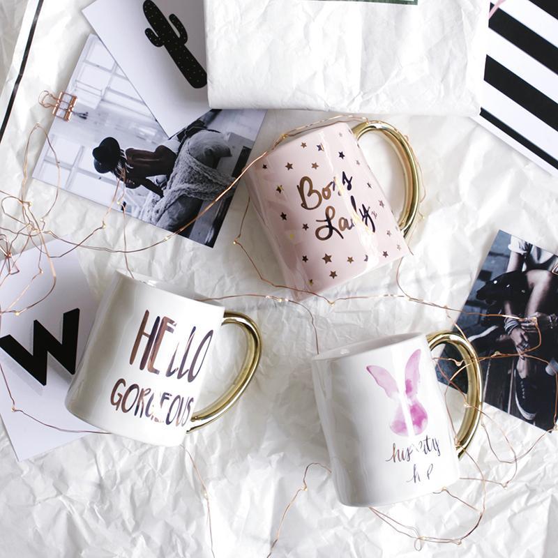 Golden handle Porcelain Coffee Mug Lady Mugs Tea Milk Cups Drinkware Creative Wedding Gift T200506