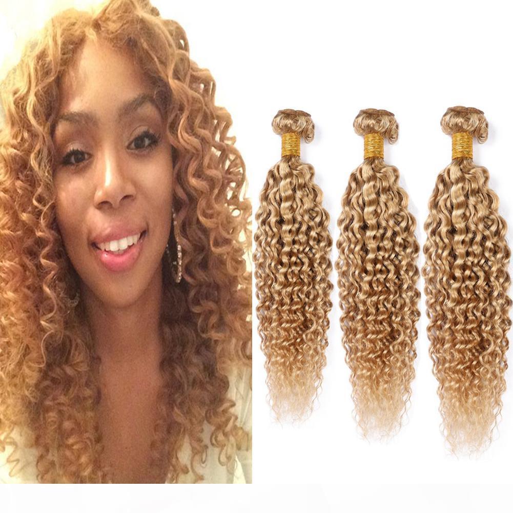 #27 Honey Blonde Brazilian Curly Human Hair Bundles Kinkys Curly Virgin Hair Extensions Light Brown Human Hair Weave Wefts 3 Bundle Deals