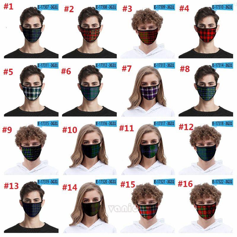 Preuve imprimée Nouveau tissu Plaid mode 3D masque de soie de glace masque lavable à 32 styles pour adultes et enfants masques pour enfants