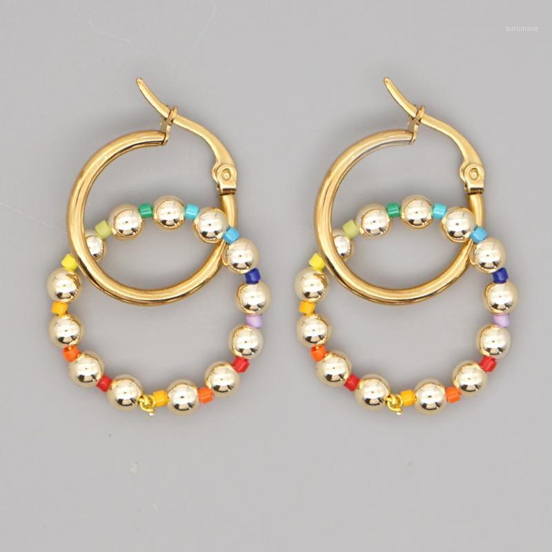 Boucles d'oreilles rondes GO2BOHO pour femmes à la main Hoop Boucle d'oreille Mode bijoux 2020 Japonais Golden Perles Boucle d'oreille en gros1