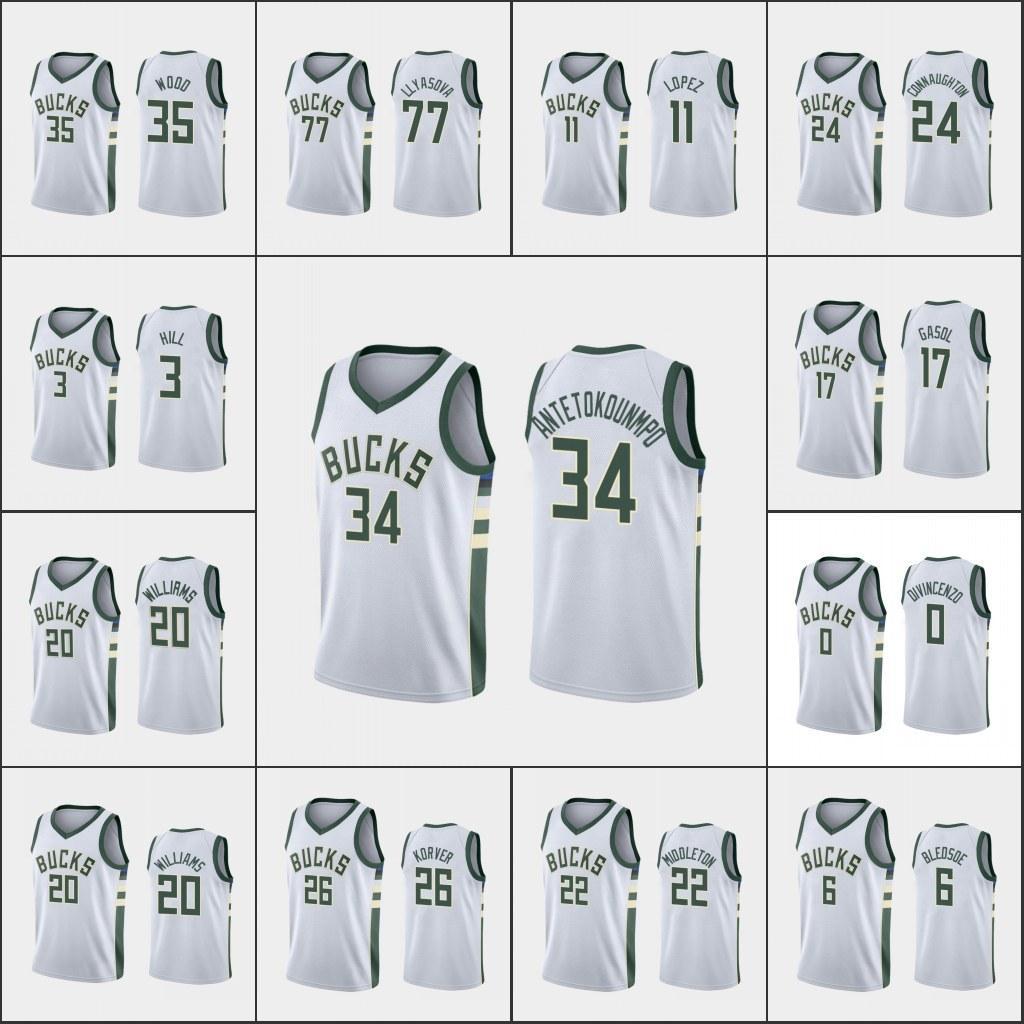 Ncaamilwaukee.Bucks.Homens Giannis Antetokounmpo Eric Bledsoe Khris Middleton Brook LopezJersey da associação personalizada branca da NBA