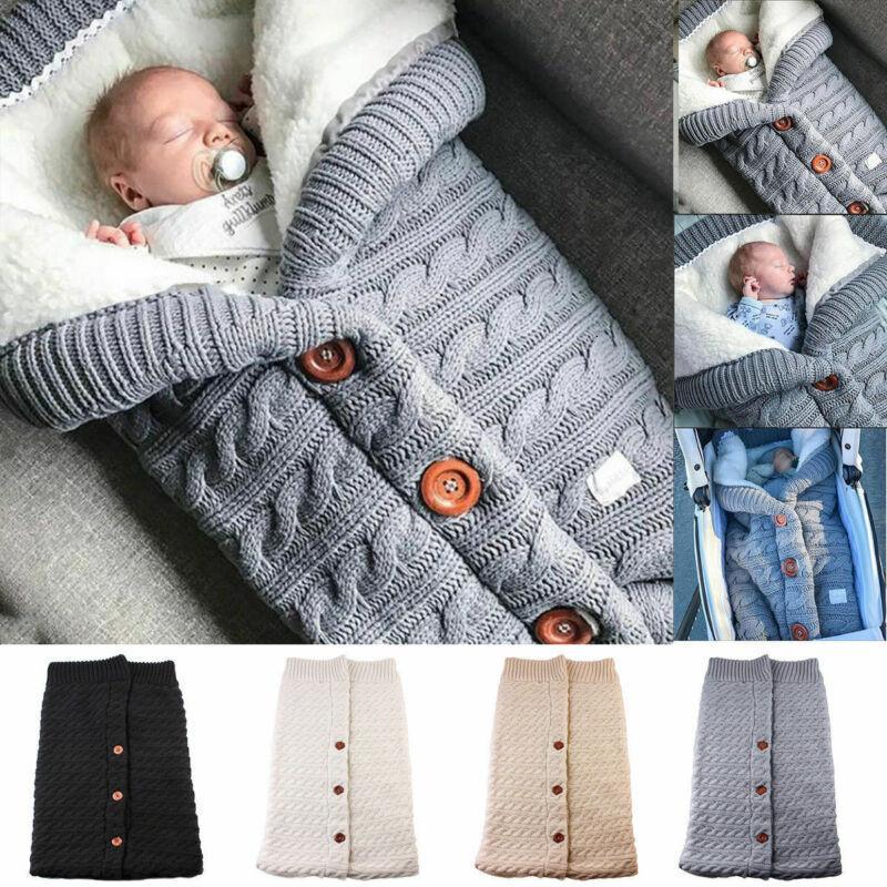 Toddler Yenidoğan Bebek Erkek Kız Battaniye Örgü Tığ Kundak War Swaddling Sıcak Kış Uyku Tulumu