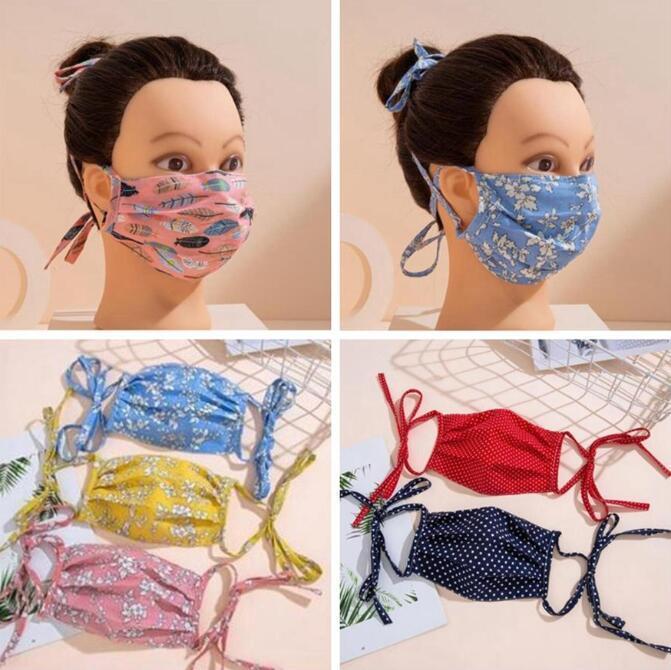 Masque visage avec corde d'oreille longue empêche la douleur de l'oreille réutilisable lavable coton masques de la fête adulte Maske Designers Mode Couverture de la bouche Zy69