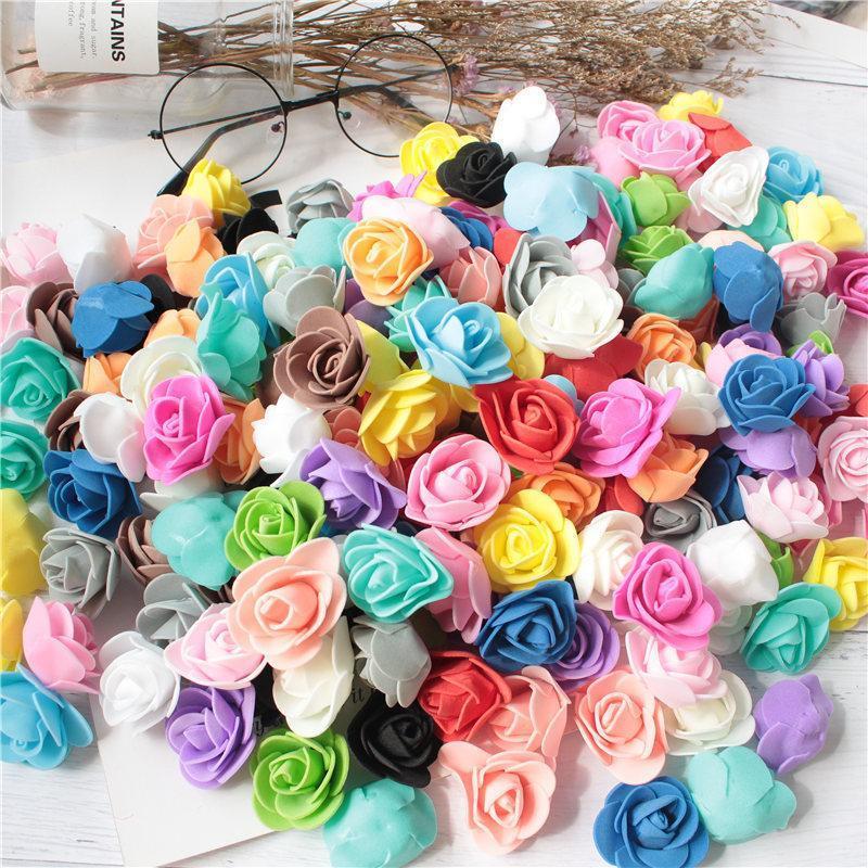 144pcs / lot MULTICOLOR FOAM ROSA Decoración artificial flor decoración falsa decoración del hogar Mini PE Foam Head DIY Rose Oso