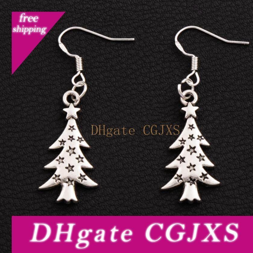 Yıldız Işık Noel Ağacı Küpe 925 Gümüş Balık Kulak Kanca 40 Çift / grup Antik Gümüş Dangle Avize Takı E748 14 .4x44mm